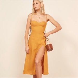 Reformation Nebraska Dress Ochre 0 Yellow Midi